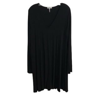 Black Dress long sleeve Black V-neck dress